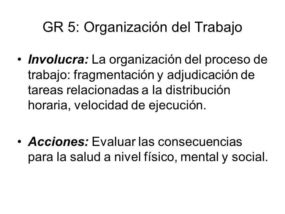 GR 5: Organización del Trabajo Involucra: La organización del proceso de trabajo: fragmentación y adjudicación de tareas relacionadas a la distribució