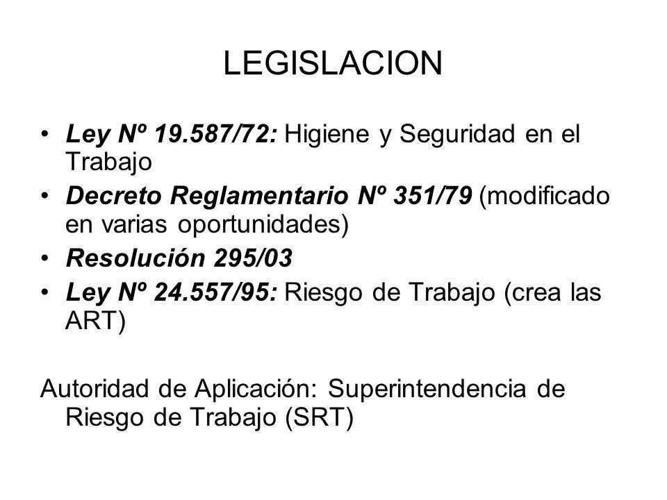 LEGISLACION Ley Nº 19.587/72: Higiene y Seguridad en el Trabajo Decreto Reglamentario Nº 351/79 (modificado en varias oportunidades) Resolución 295/03
