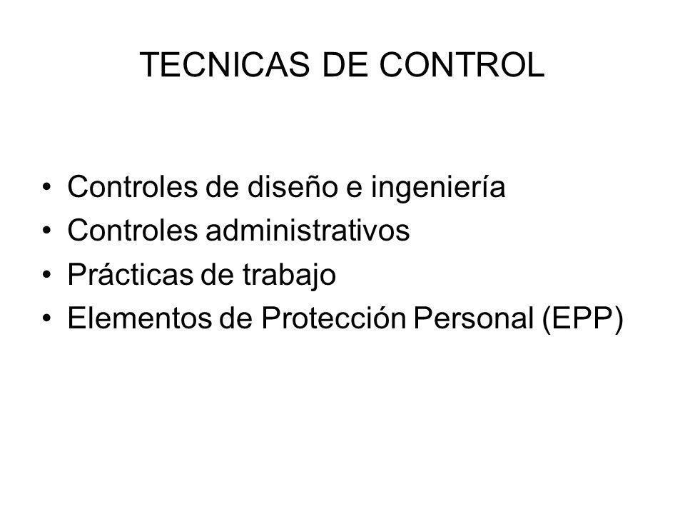 TECNICAS DE CONTROL Controles de diseño e ingeniería Controles administrativos Prácticas de trabajo Elementos de Protección Personal (EPP)