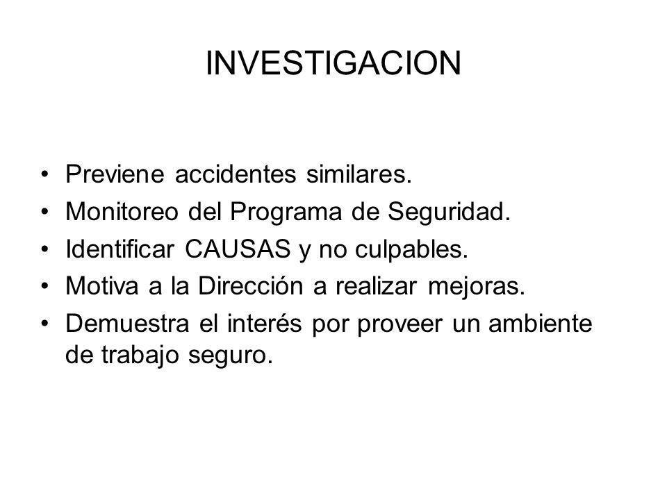 INVESTIGACION Previene accidentes similares. Monitoreo del Programa de Seguridad. Identificar CAUSAS y no culpables. Motiva a la Dirección a realizar
