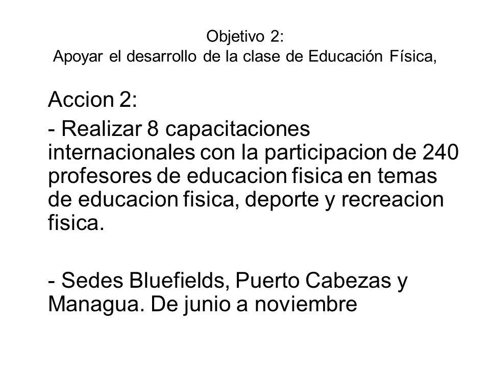 Objetivo 2: Apoyar el desarrollo de la clase de Educación Física, Accion 2: - Realizar 8 capacitaciones internacionales con la participacion de 240 pr