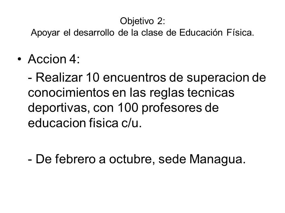 Objetivo 2: Apoyar el desarrollo de la clase de Educación Física. Accion 4: - Realizar 10 encuentros de superacion de conocimientos en las reglas tecn