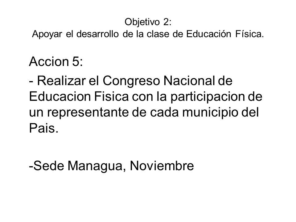 Objetivo 2: Apoyar el desarrollo de la clase de Educación Física. Accion 5: - Realizar el Congreso Nacional de Educacion Fisica con la participacion d