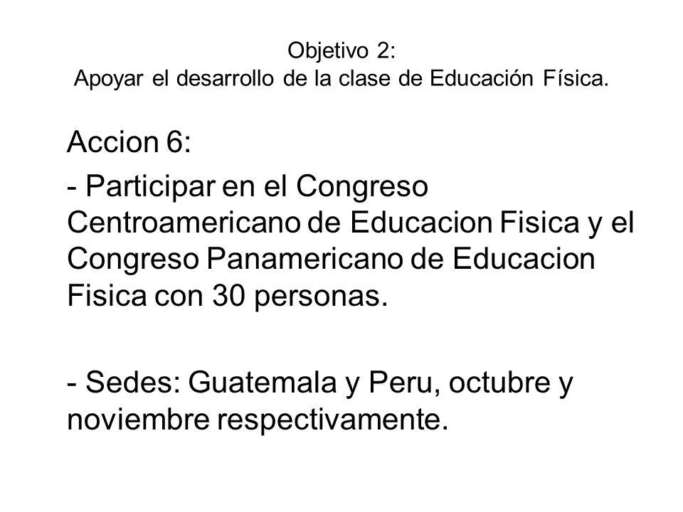 Objetivo 2: Apoyar el desarrollo de la clase de Educación Física. Accion 6: - Participar en el Congreso Centroamericano de Educacion Fisica y el Congr