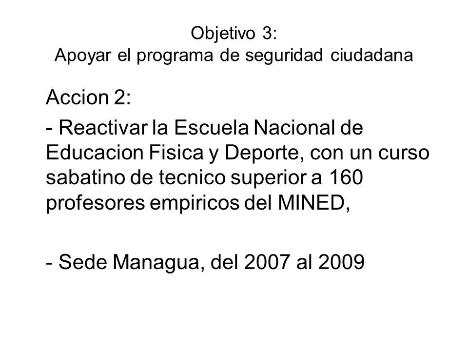 Objetivo 3: Apoyar el programa de seguridad ciudadana Accion 2: - Reactivar la Escuela Nacional de Educacion Fisica y Deporte, con un curso sabatino d