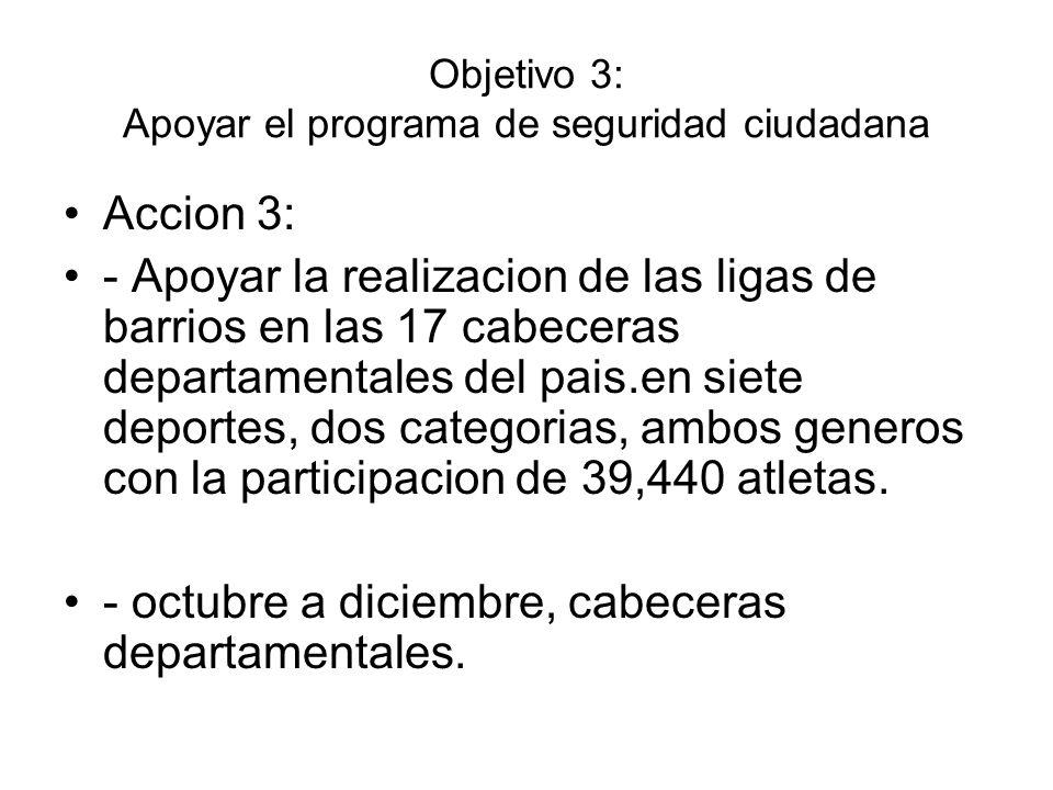Objetivo 3: Apoyar el programa de seguridad ciudadana Accion 3: - Apoyar la realizacion de las ligas de barrios en las 17 cabeceras departamentales de