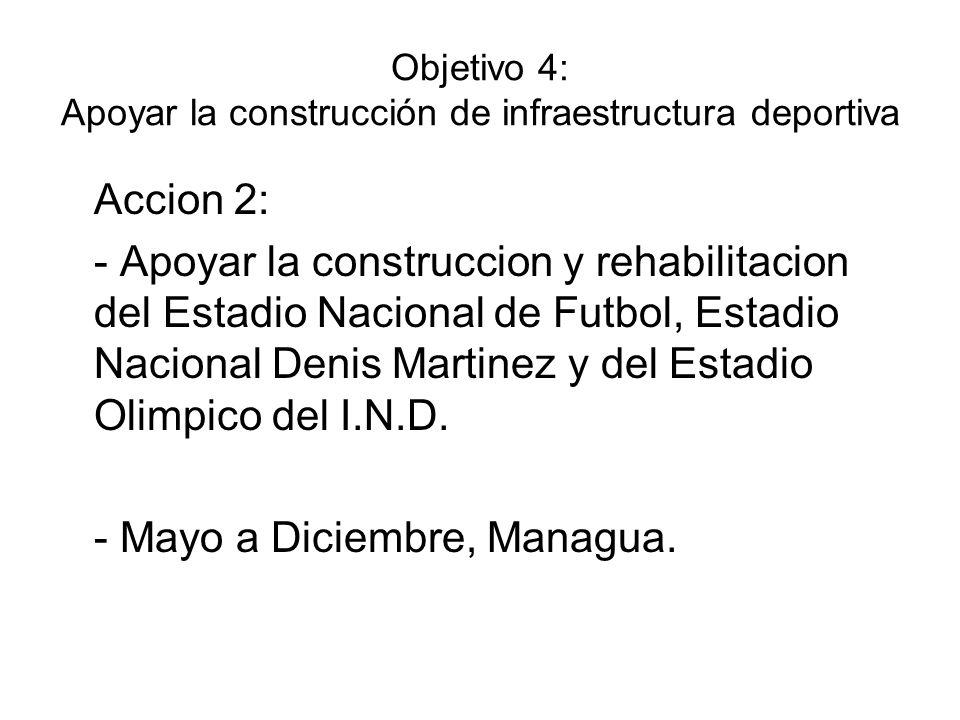 Objetivo 4: Apoyar la construcción de infraestructura deportiva Accion 2: - Apoyar la construccion y rehabilitacion del Estadio Nacional de Futbol, Es