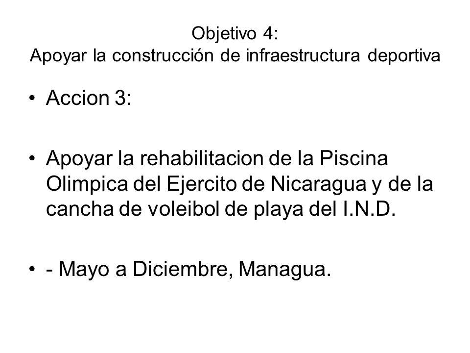 Objetivo 4: Apoyar la construcción de infraestructura deportiva Accion 3: Apoyar la rehabilitacion de la Piscina Olimpica del Ejercito de Nicaragua y