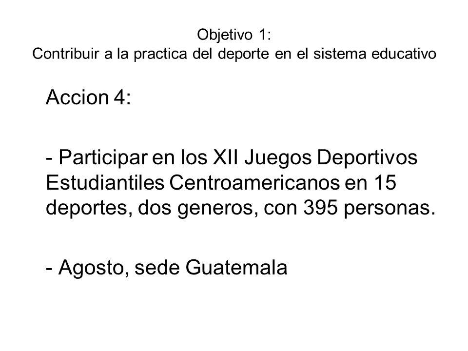 Objetivo 1: Contribuir a la practica del deporte en el sistema educativo Accion 5: - Participar en los I Juegos Deportivos Centroamericanos para Estudiantes con Discapacidad en 02 deportes, dos generos, 40 personas.