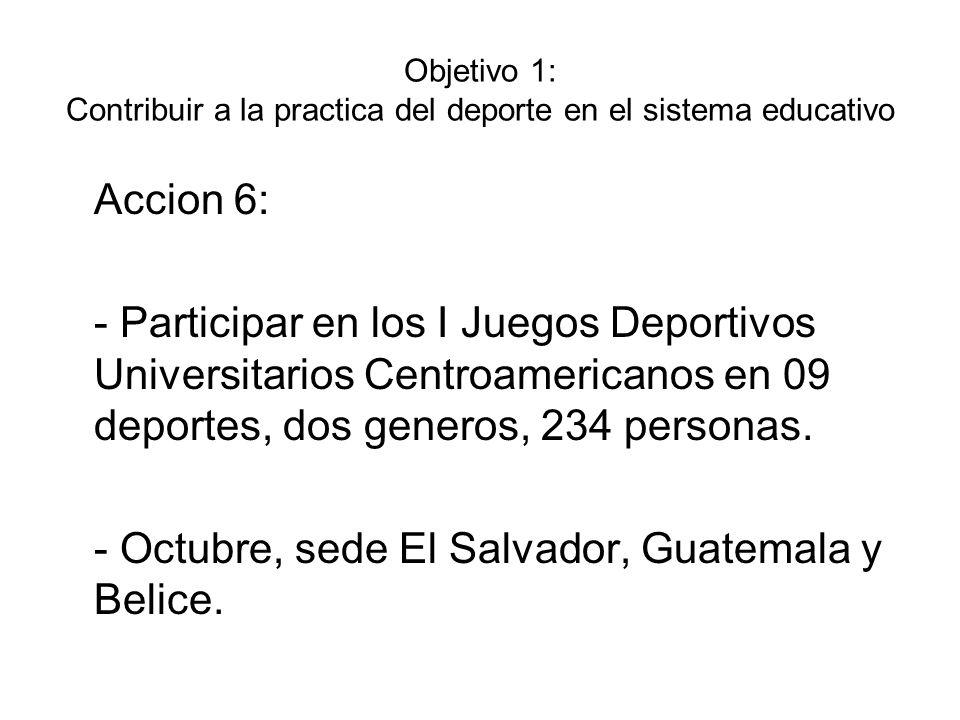 Objetivo 1: Contribuir a la practica del deporte en el sistema educativo Accion 7: - Participar en los I Juegos Deportivos Estudiantiles Centroamericanos y del Caribe en 05 deportes, dos generos, 16 personas.