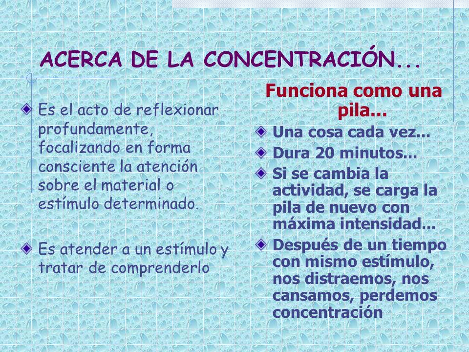 ACERCA DE LA CONCENTRACIÓN... Es el acto de reflexionar profundamente, focalizando en forma consciente la atención sobre el material o estímulo determ