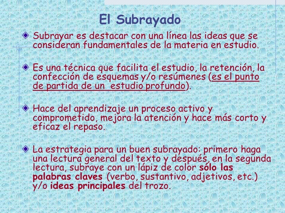 El Subrayado Subrayar es destacar con una línea las ideas que se consideran fundamentales de la materia en estudio. Es una técnica que facilita el est