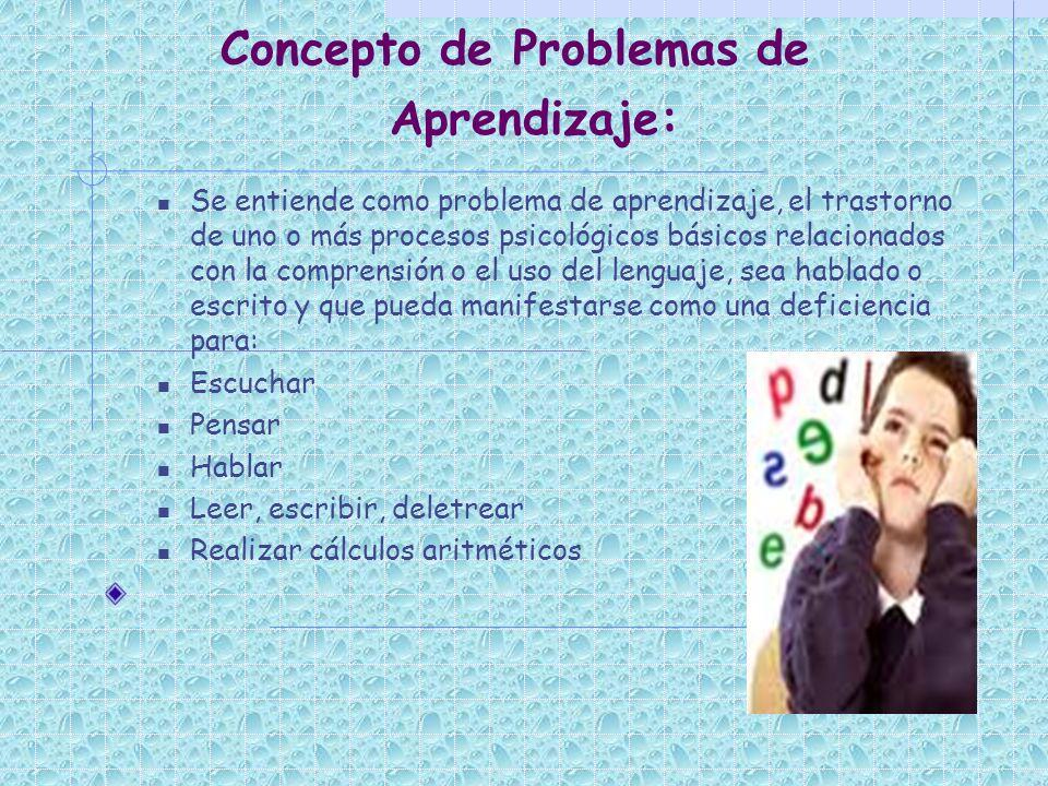 Concepto de Problemas de Aprendizaje: Se entiende como problema de aprendizaje, el trastorno de uno o más procesos psicológicos básicos relacionados c