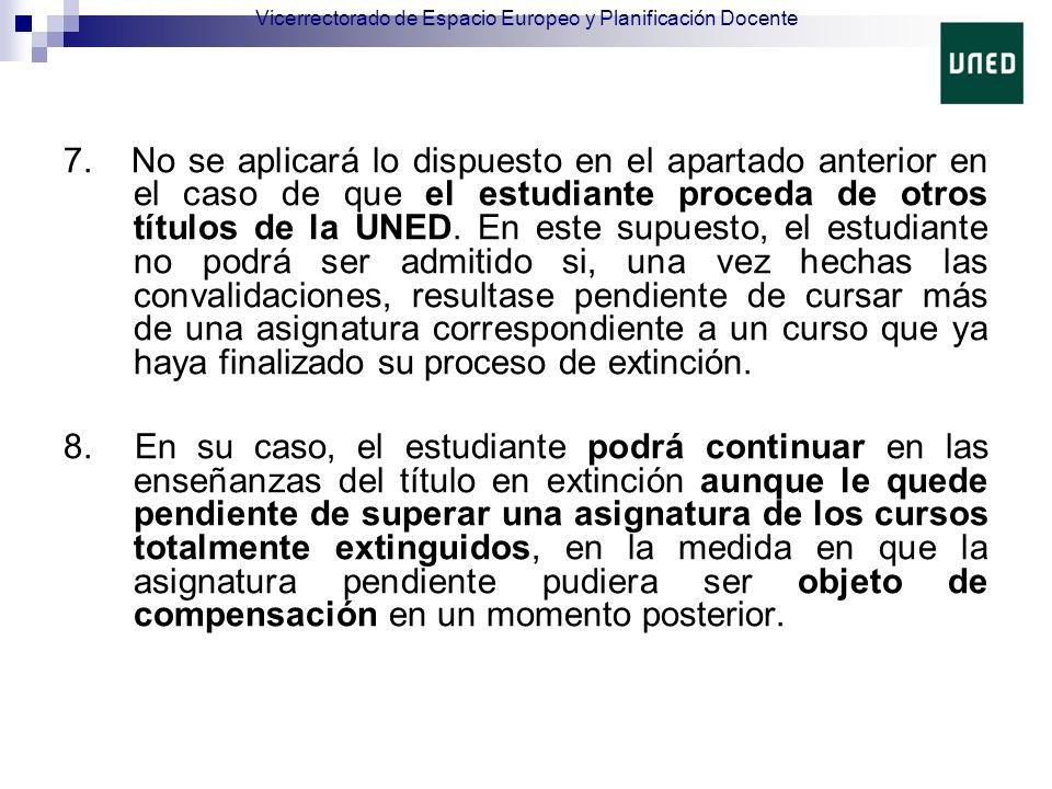 7. No se aplicará lo dispuesto en el apartado anterior en el caso de que el estudiante proceda de otros títulos de la UNED. En este supuesto, el estud
