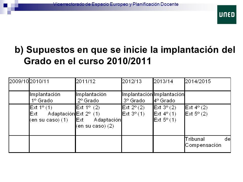 b) Supuestos en que se inicie la implantación del Grado en el curso 2010/2011 Vicerrectorado de Espacio Europeo y Planificación Docente