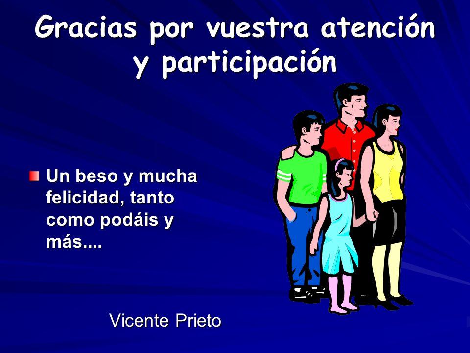 Gracias por vuestra atención y participación Un beso y mucha felicidad, tanto como podáis y más.... Vicente Prieto Vicente Prieto