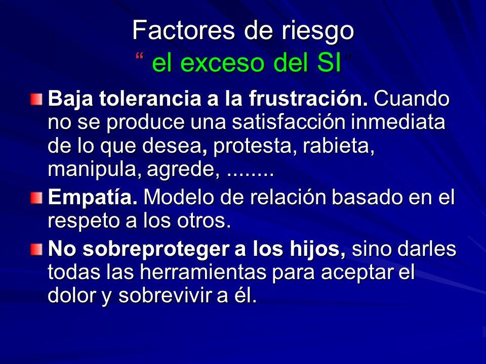 Factores de riesgo el exceso del NO La rigidez promueve comportamientos de gran agresividad.