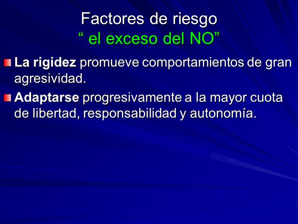 Factores de riesgo el exceso del NO La rigidez promueve comportamientos de gran agresividad. Adaptarse progresivamente a la mayor cuota de libertad, r