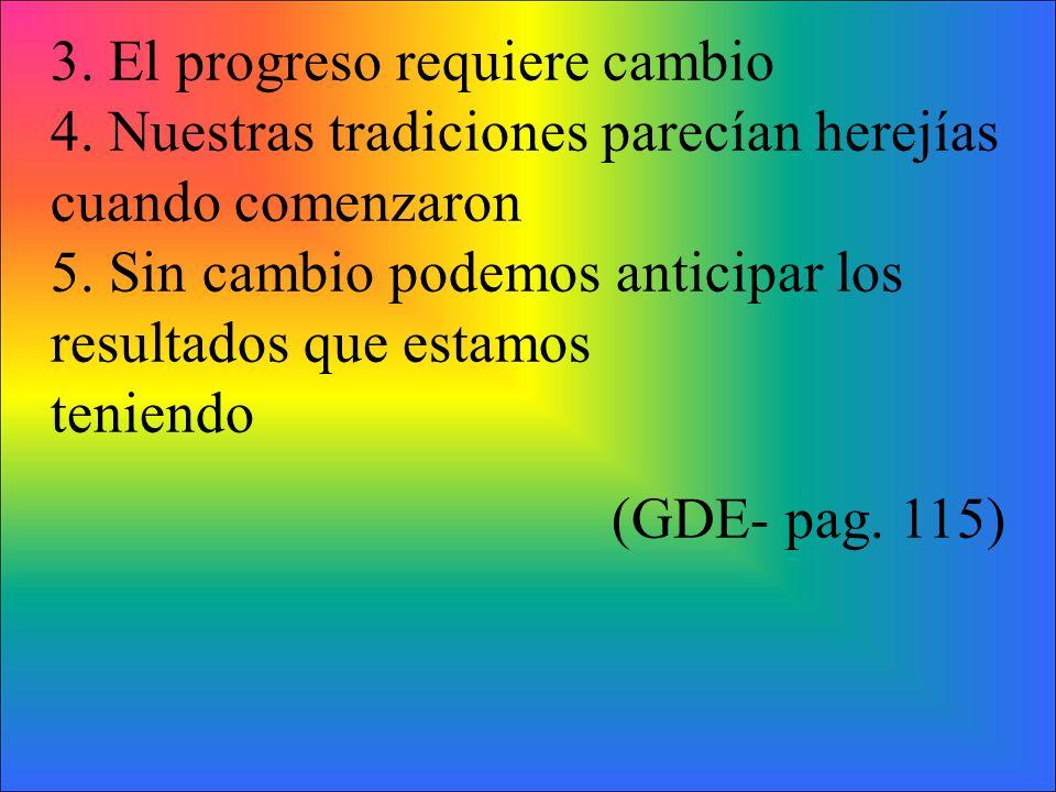 3. El progreso requiere cambio 4. Nuestras tradiciones parecían herejías cuando comenzaron 5.