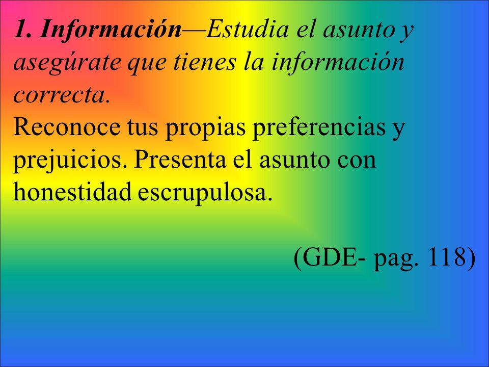 1. InformaciónEstudia el asunto y asegúrate que tienes la información correcta.