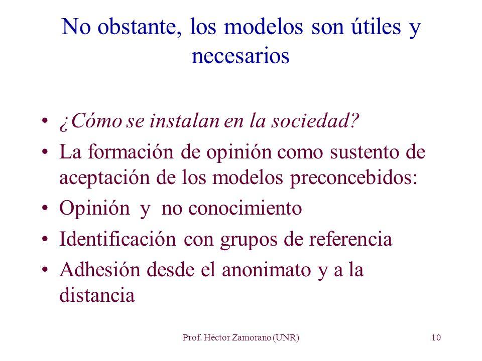 Prof. Héctor Zamorano (UNR)10 No obstante, los modelos son útiles y necesarios ¿Cómo se instalan en la sociedad? La formación de opinión como sustento