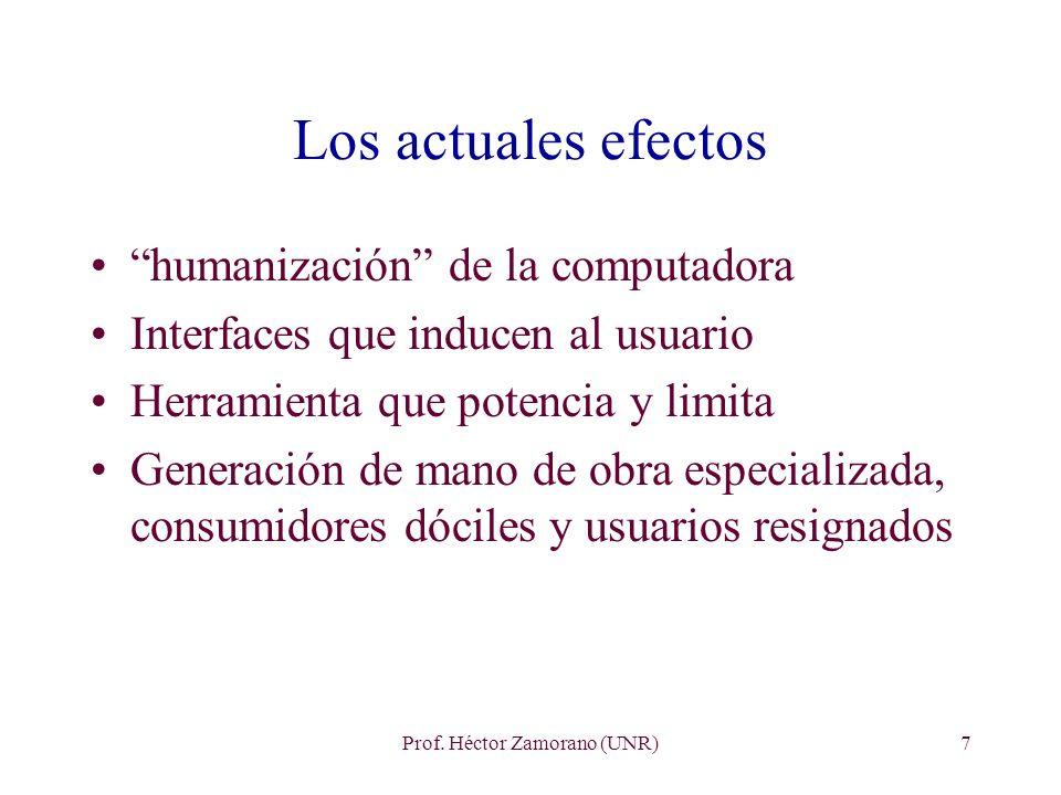 Prof. Héctor Zamorano (UNR)7 Los actuales efectos humanización de la computadora Interfaces que inducen al usuario Herramienta que potencia y limita G