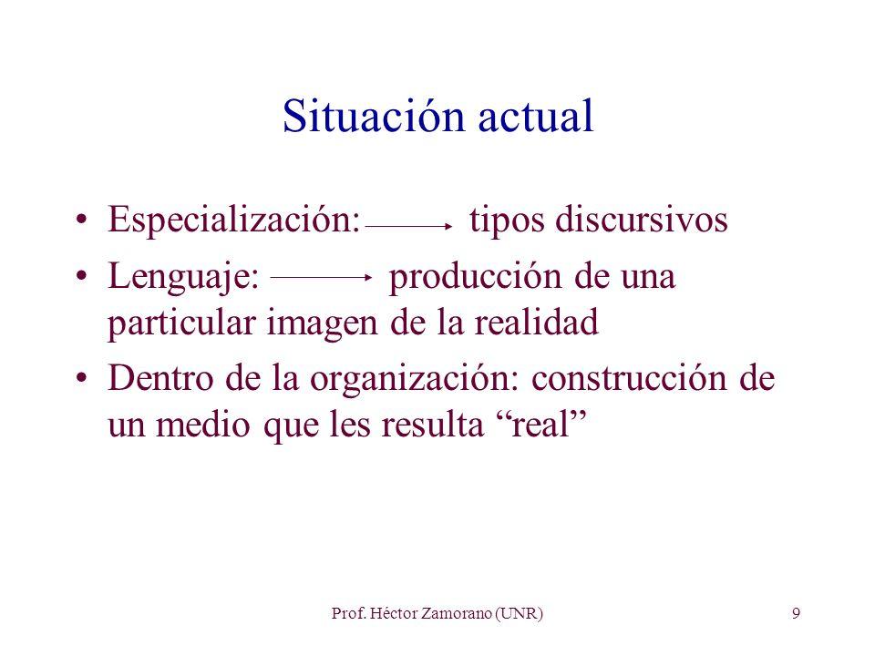 Prof. Héctor Zamorano (UNR)9 Situación actual Especialización: tipos discursivos Lenguaje: producción de una particular imagen de la realidad Dentro d