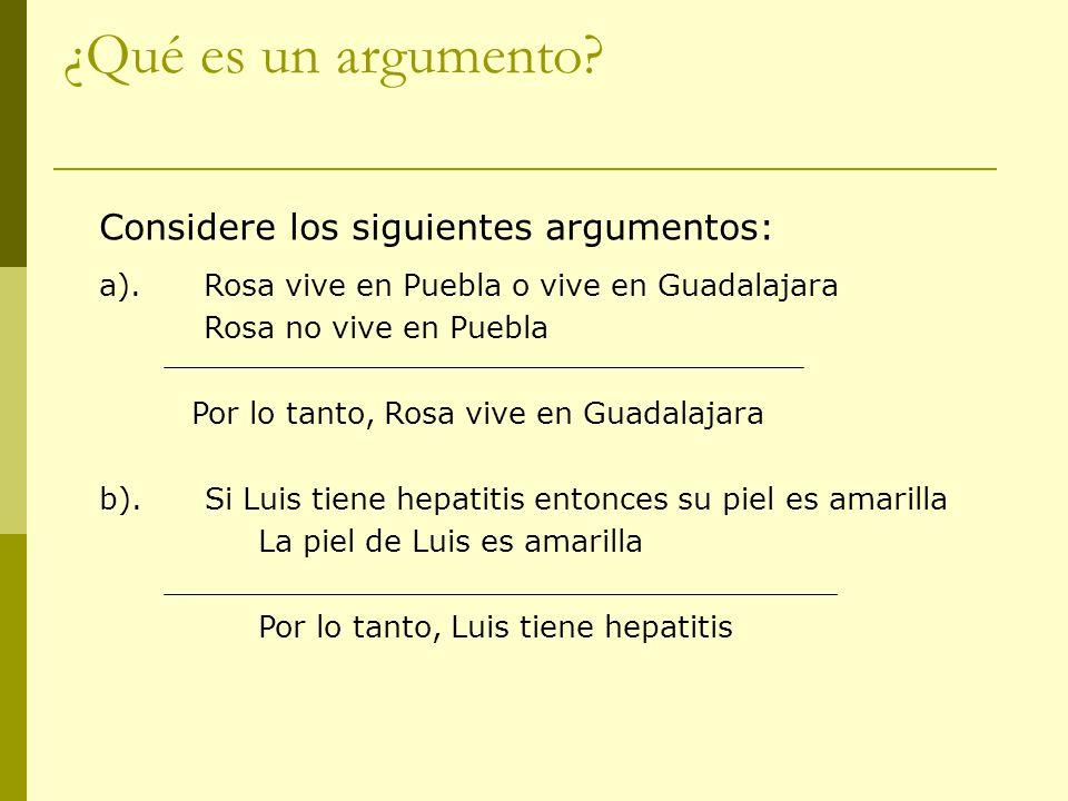 ¿Qué es un argumento? Considere los siguientes argumentos: a). Rosa vive en Puebla o vive en Guadalajara Rosa no vive en Puebla Por lo tanto, Rosa viv
