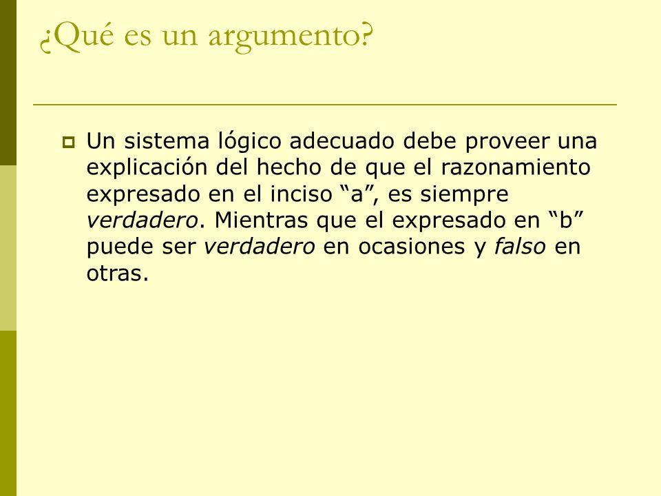 ¿Qué es un argumento? Un sistema lógico adecuado debe proveer una explicación del hecho de que el razonamiento expresado en el inciso a, es siempre ve