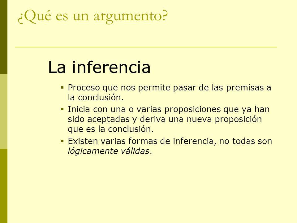 ¿Qué es un argumento? La inferencia Proceso que nos permite pasar de las premisas a la conclusión. Inicia con una o varias proposiciones que ya han si
