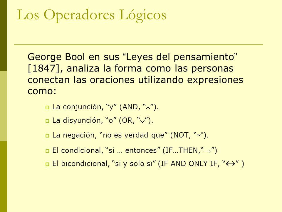 Los Operadores Lógicos George Bool en sus Leyes del pensamiento [1847], analiza la forma como las personas conectan las oraciones utilizando expresion