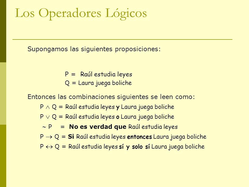 Los Operadores Lógicos Supongamos las siguientes proposiciones: P = Raúl estudia leyes Q = Laura juega boliche Entonces las combinaciones siguientes s