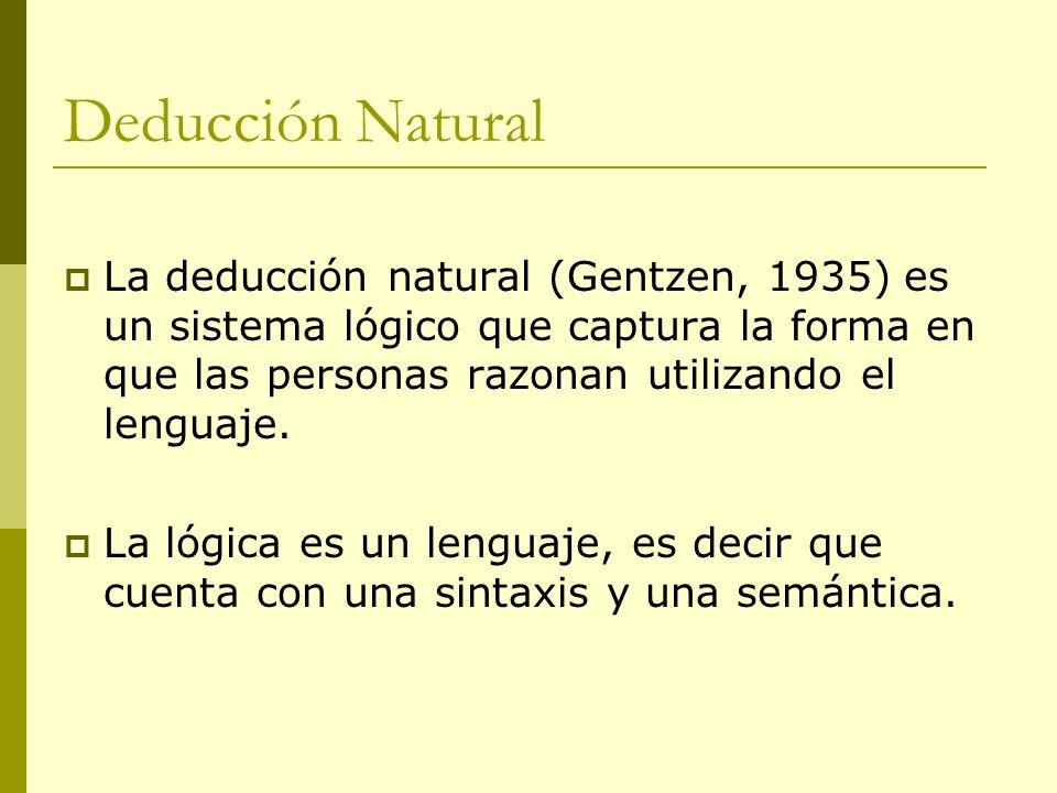 La deducción natural (Gentzen, 1935) es un sistema lógico que captura la forma en que las personas razonan utilizando el lenguaje. La lógica es un len