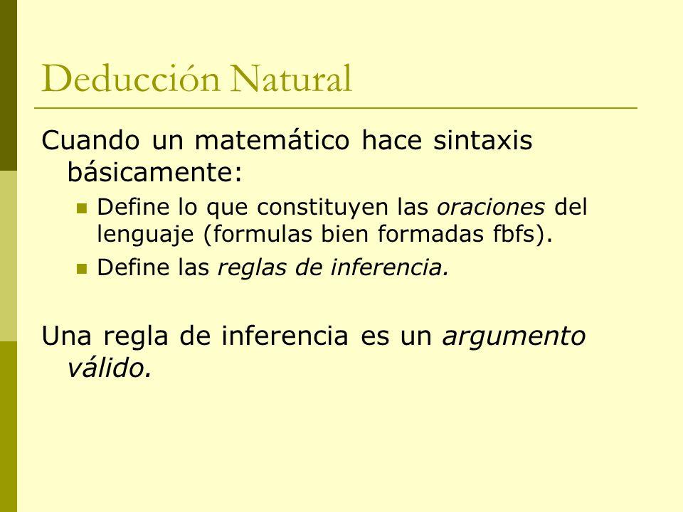 Deducción Natural Cuando un matemático hace sintaxis básicamente: Define lo que constituyen las oraciones del lenguaje (formulas bien formadas fbfs).