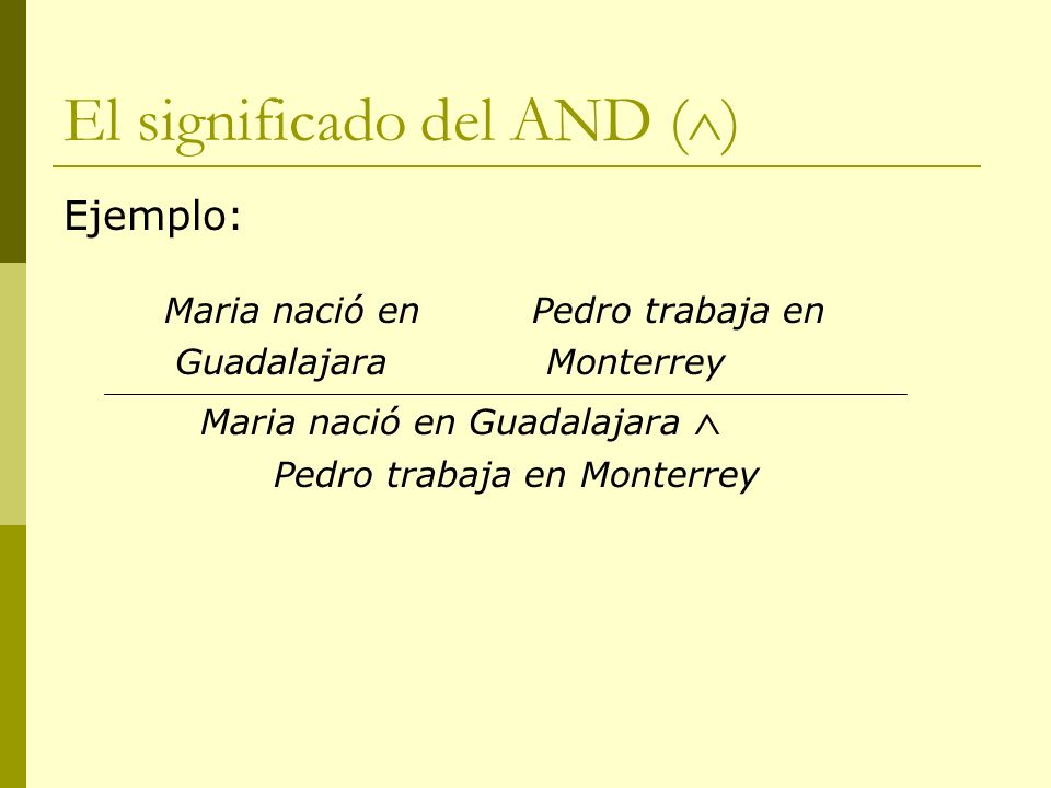 El significado del AND ( ) Ejemplo: Maria nació en Pedro trabaja en Guadalajara Monterrey Maria nació en Guadalajara Pedro trabaja en Monterrey