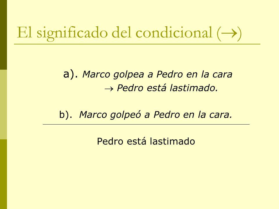 El significado del condicional ( ) a). Marco golpea a Pedro en la cara Pedro está lastimado. b). Marco golpeó a Pedro en la cara. Pedro está lastimado