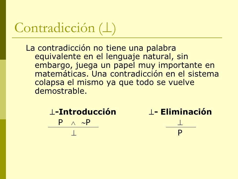 Contradicción ( ) La contradicción no tiene una palabra equivalente en el lenguaje natural, sin embargo, juega un papel muy importante en matemáticas.