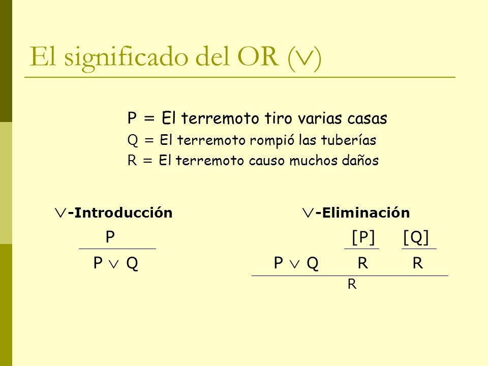 El significado del OR ( ) P = El terremoto tiro varias casas Q = El terremoto rompió las tuberías R = El terremoto causo muchos daños -Introducción -E