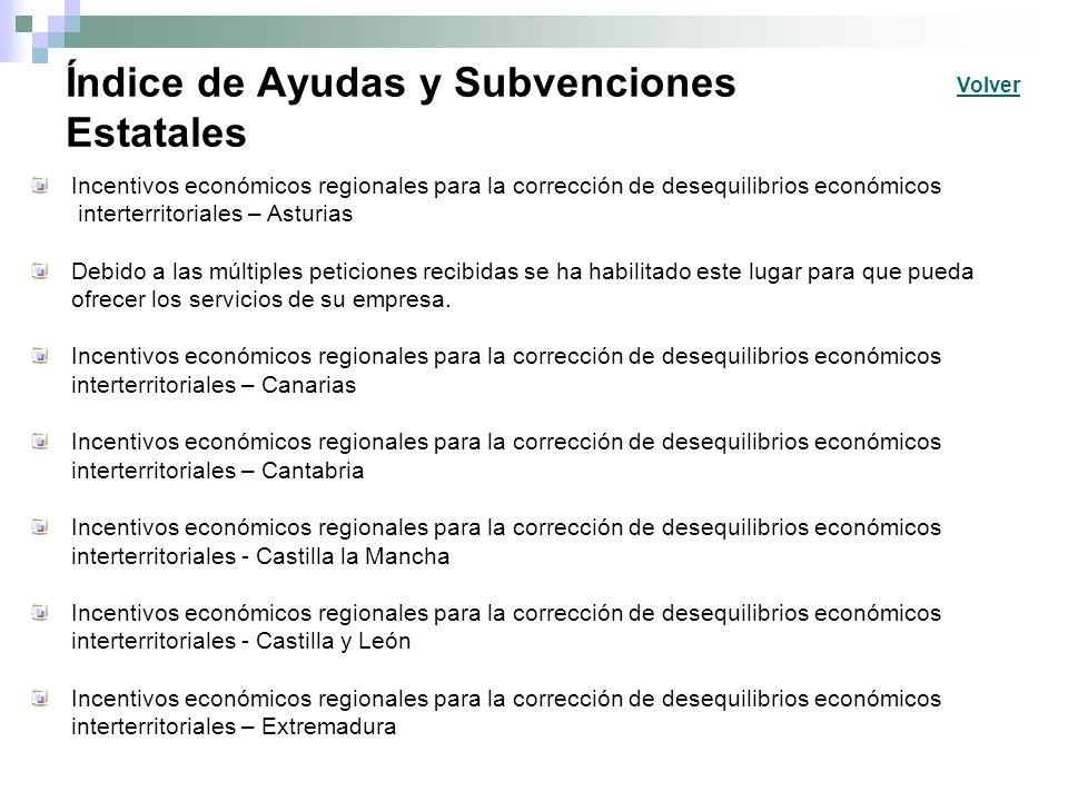 Índice de Ayudas y Subvenciones Estatales Incentivos económicos regionales para la corrección de desequilibrios económicos interterritoriales – Asturi