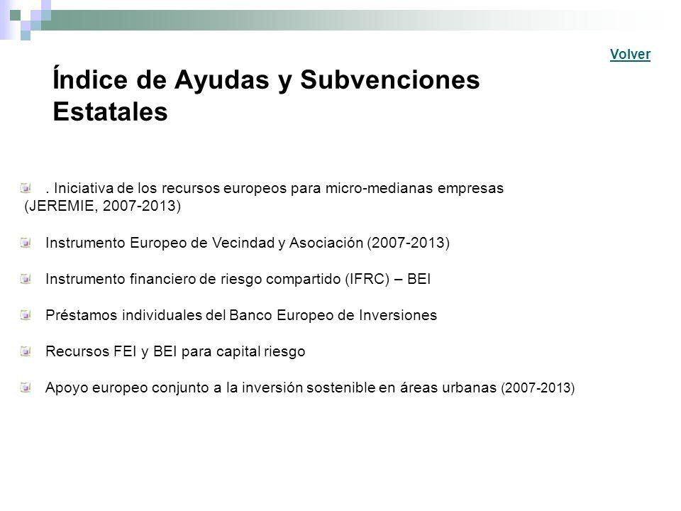Índice de Ayudas y Subvenciones Estatales. Iniciativa de los recursos europeos para micro-medianas empresas (JEREMIE, 2007-2013) Instrumento Europeo d