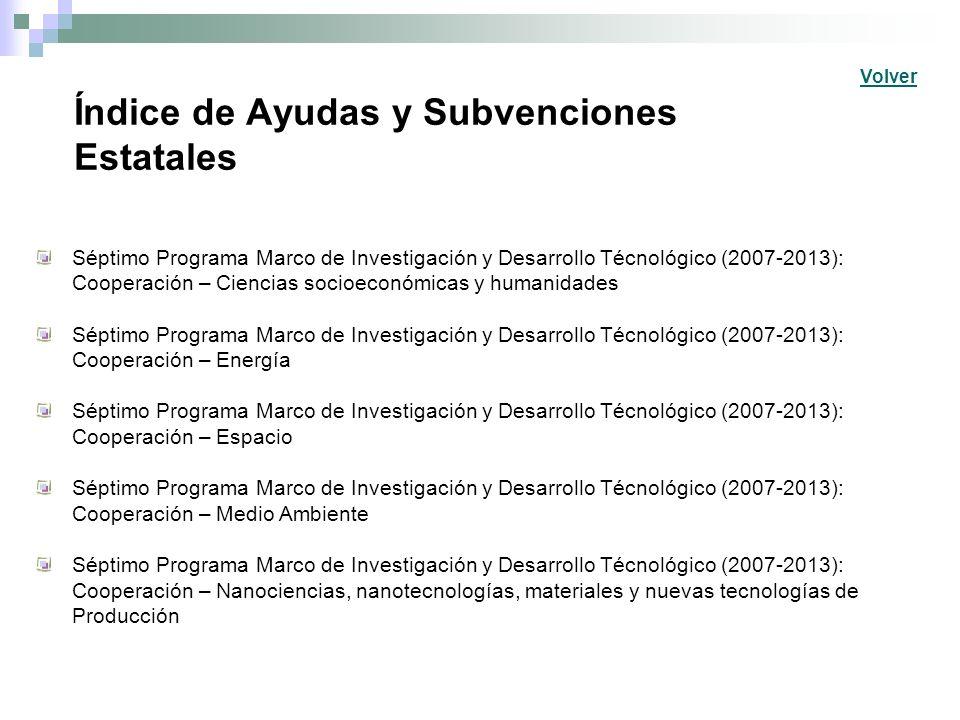 Índice de Ayudas y Subvenciones Estatales Séptimo Programa Marco de Investigación y Desarrollo Técnológico (2007-2013): Cooperación – Ciencias socioec