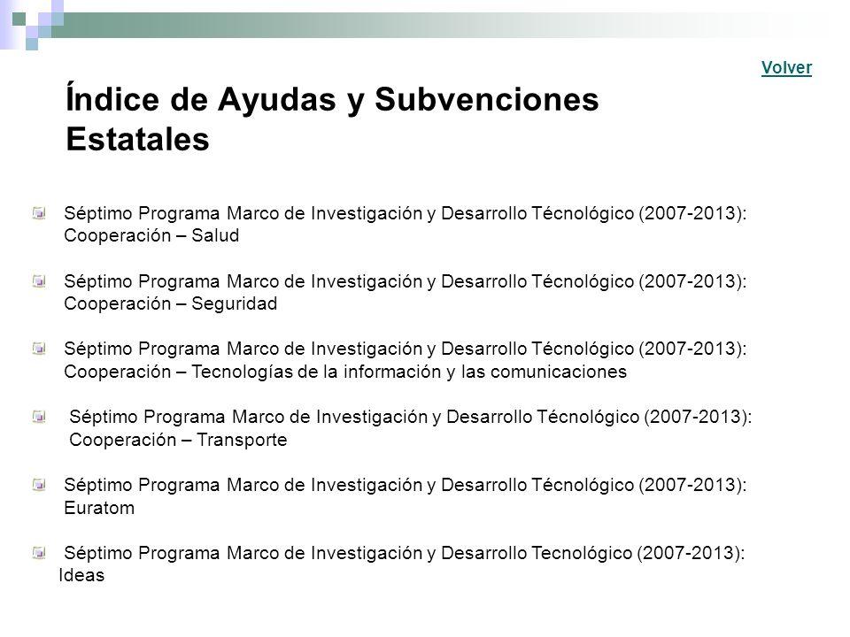 Índice de Ayudas y Subvenciones Estatales Séptimo Programa Marco de Investigación y Desarrollo Técnológico (2007-2013): Cooperación – Salud Séptimo Pr