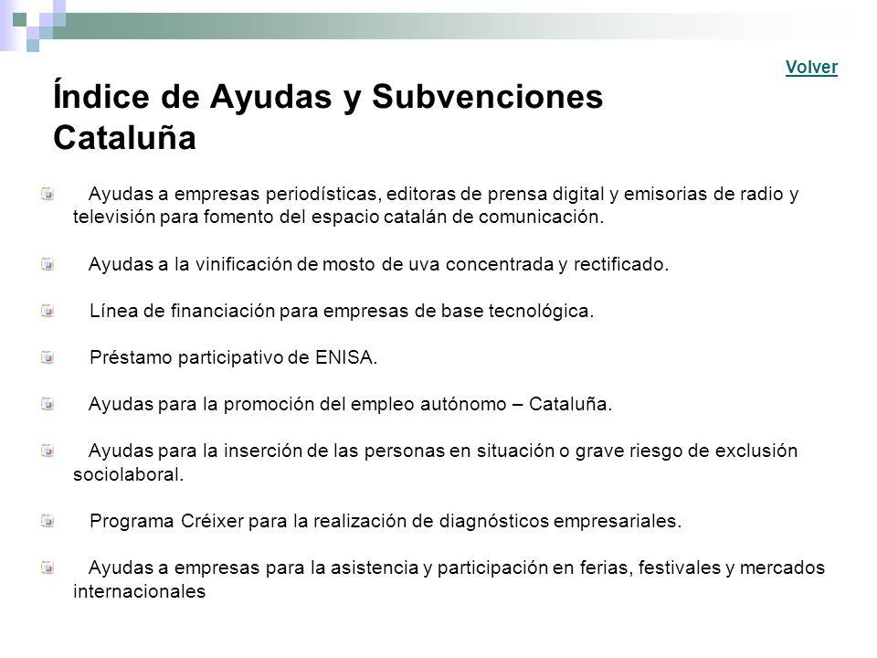 Índice de Ayudas y Subvenciones Cataluña Ayudas a empresas periodísticas, editoras de prensa digital y emisorias de radio y televisión para fomento de