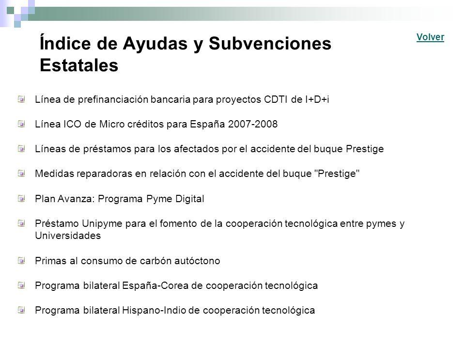Índice de Ayudas y Subvenciones Estatales Línea de prefinanciación bancaria para proyectos CDTI de I+D+i Línea ICO de Micro créditos para España 2007-
