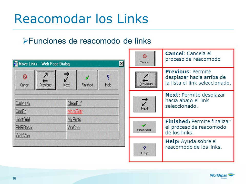 16 Reacomodar los Links Funciones de reacomodo de links Cancel: Cancela el proceso de reacomodo Previous: Permite desplazar hacia arriba de la lista el link seleccionado.