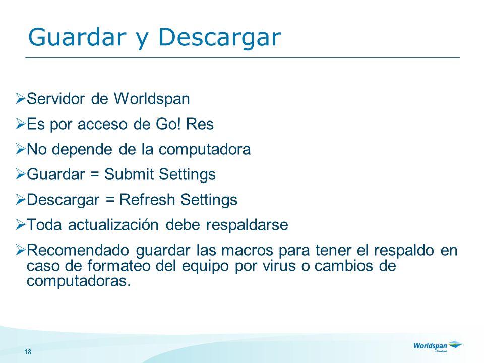 18 Guardar y Descargar Servidor de Worldspan Es por acceso de Go.