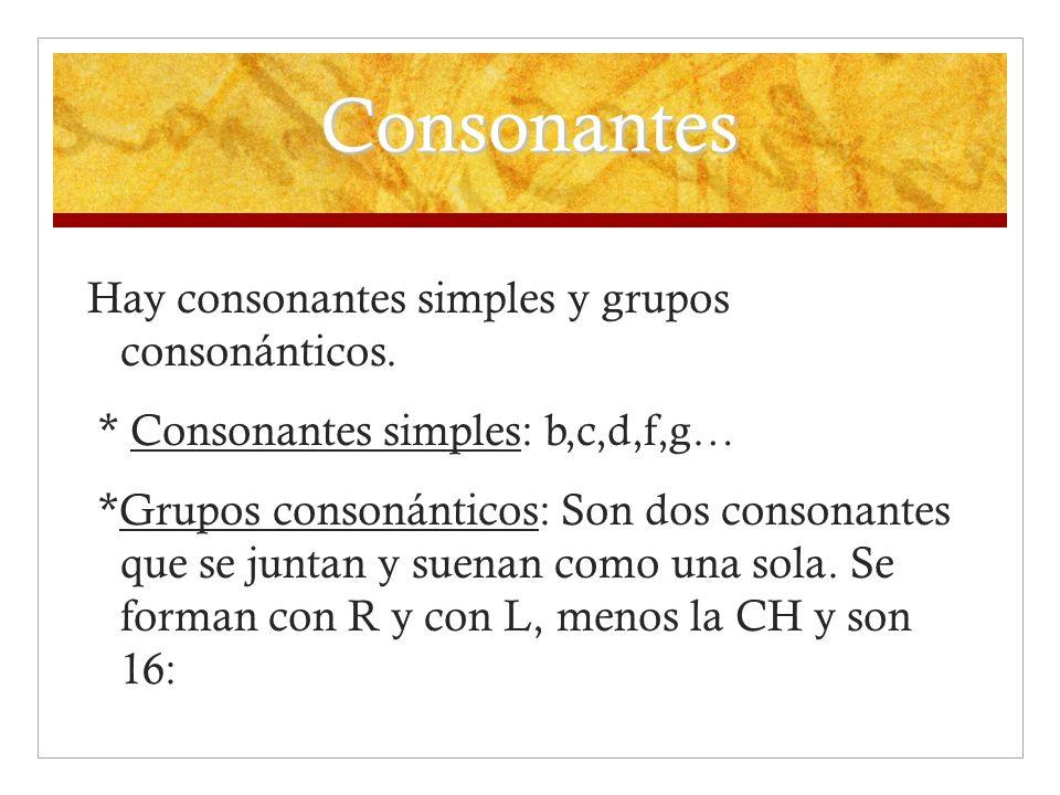 Consonantes Hay consonantes simples y grupos consonánticos. * Consonantes simples: b,c,d,f,g… *Grupos consonánticos: Son dos consonantes que se juntan