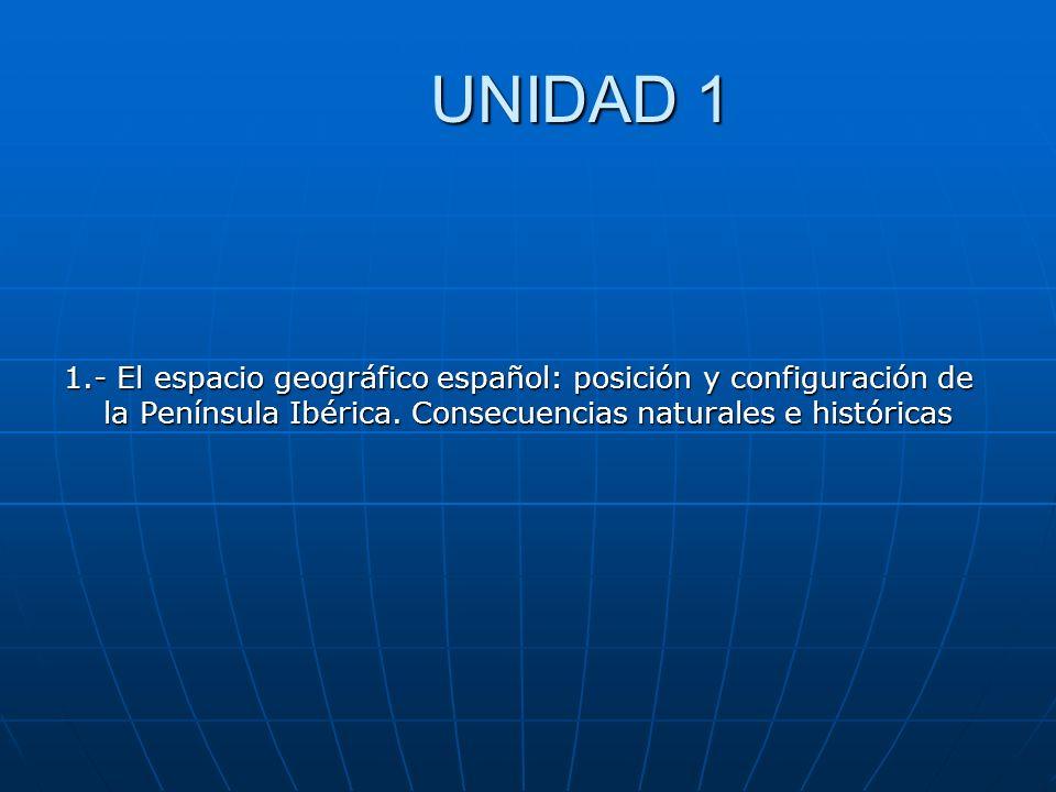 UNIDAD 1 1.- El espacio geográfico español: posición y configuración de la Península Ibérica. Consecuencias naturales e históricas