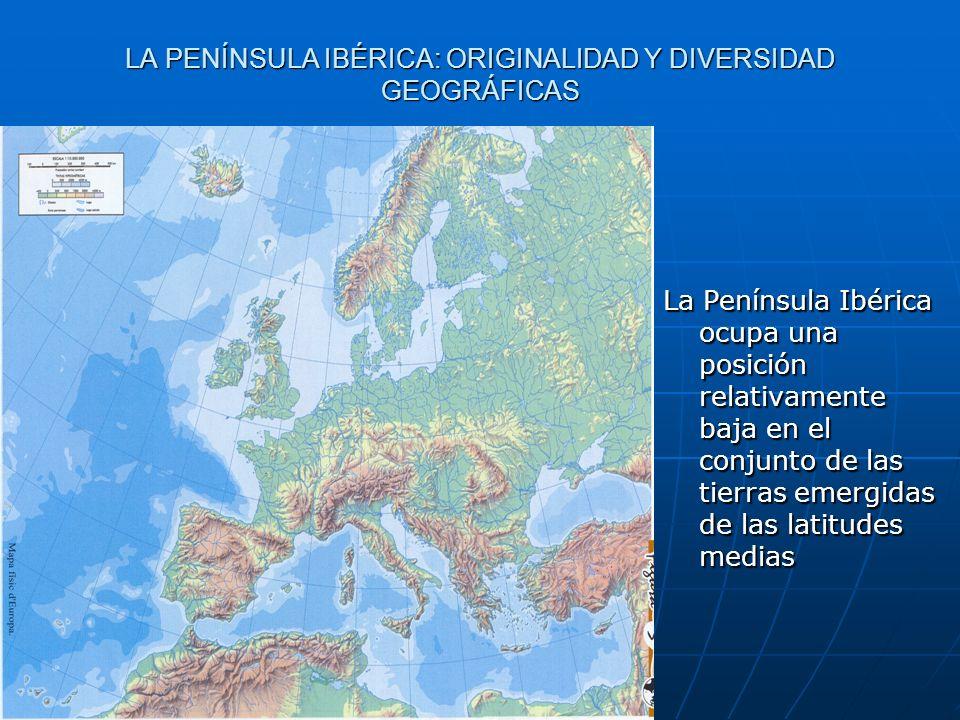 La Península Ibérica ocupa una posición relativamente baja en el conjunto de las tierras emergidas de las latitudes medias