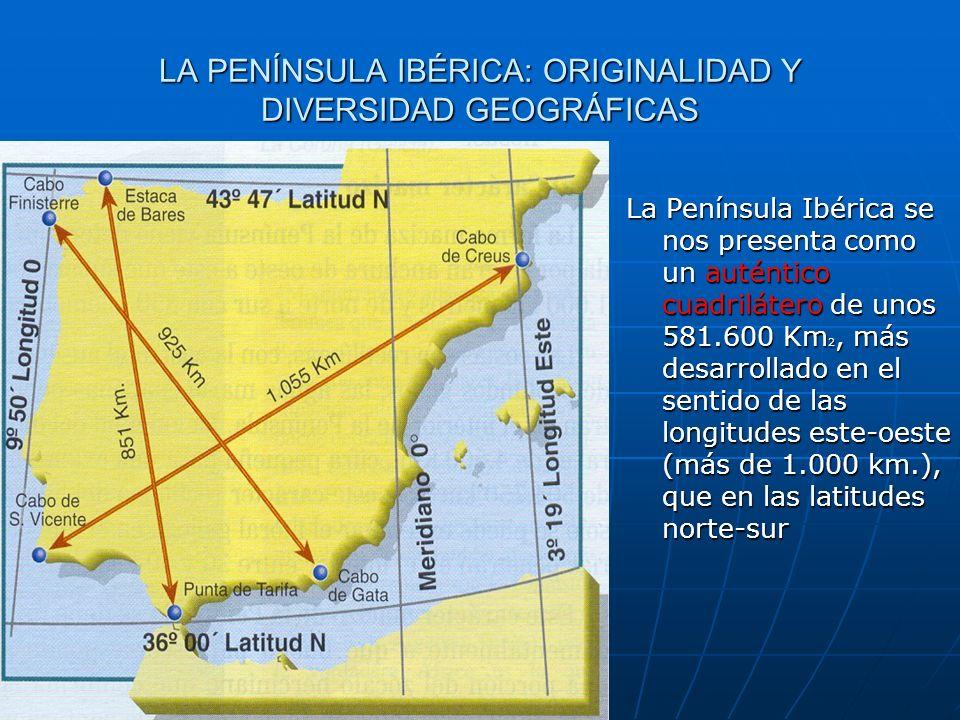 LA PENÍNSULA IBÉRICA: ORIGINALIDAD Y DIVERSIDAD GEOGRÁFICAS La Península Ibérica se nos presenta como un auténtico cuadrilátero de unos 581.600 Km 2,